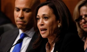 Kamala Harris asks a question as the attorney general, William Barr, testifies before a Senate judiciary committee hearing on Capitol Hill.
