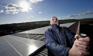 Glastonbury festival organiser Michael Eavis unveils a solar power system at Worthy Farm in 2010, financed partly with a Triodos loan.