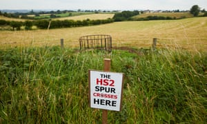 A field near Blackwell, Derbyshire, on the route of the proposed HS2 spur link into Sheffield city centre.