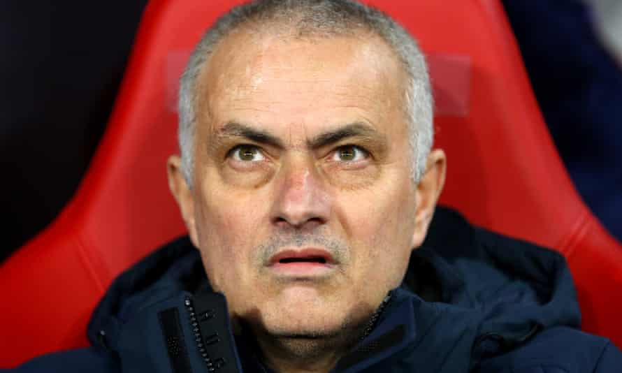 José Mourinho looks perplexed on the bench in Tottenham's game at RB Leipzig.