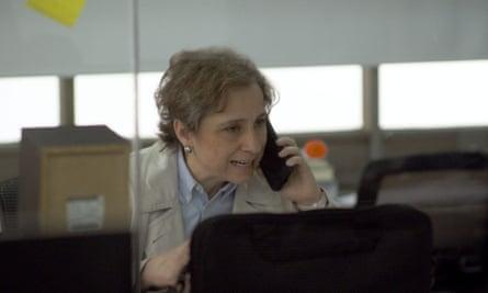 Mexican journalist Carmen Aristegui in a still from Radio Silence