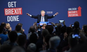 Boris Johnson at the launch of his party's General Election manifesto in Telford, West Midlands.
