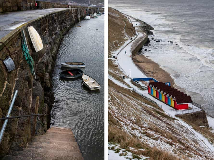 Scarborough harbour during low tide and (r) snow covers the coastal promenade from Whtiby towards Sandsend.