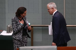 The member for Cowan, Anne Aly, talks to Malcolm Turnbull after question time