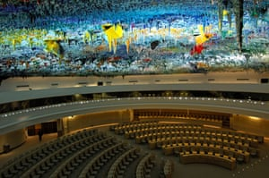 United Nation Office, SwitzerlandHuman Rights and Alliance of Civilizations Room at the Palais des Nations. Domed ceiling designed by Miquel Barcelo. The ceiling represents the geography of Earth's nations in thirty-five tons of paint, comprising pigments gleaned from earth and rocks from around the globe.