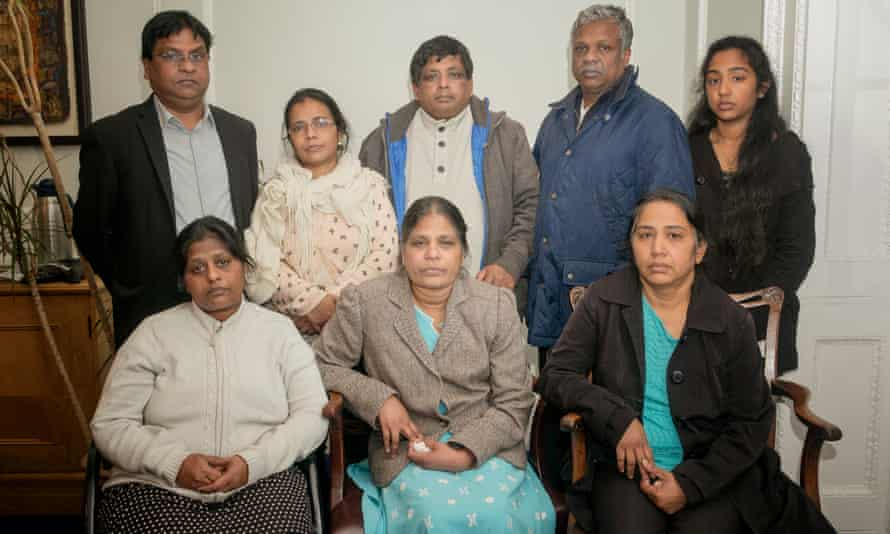 Grieving relatives of the men of Tamil origin who drowned.