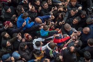 Recep Tayyip Erdogan greets