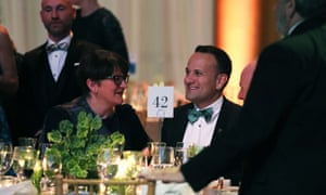 The Irish prime minister Leo Varadkar in conversation with DUP leader Arlene Foster at the American Ireland Gala Fund dinner at the National Building Museum in Washington DC last night.