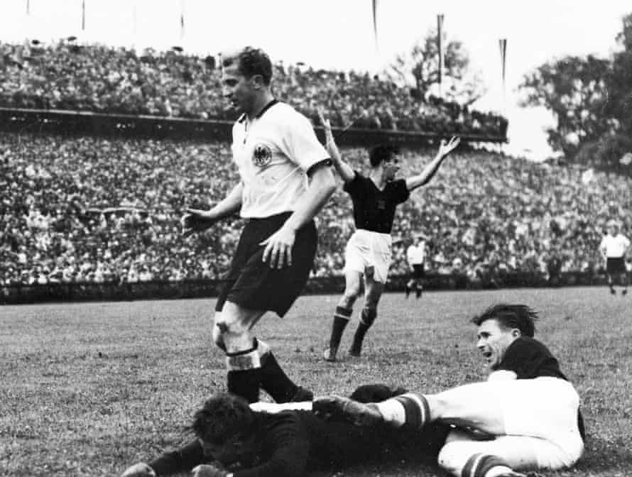 Ferenc Puskas is denied by the offside flag.