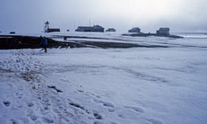 The weather station on Troynoy island in the Arctic Ocean.