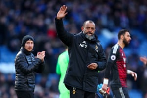 A dejected Nuno Espirito Santo after watching his team draw 1-1 with Chelsea.