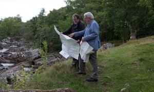 Robin McKie, right, with Ordnance Survey surveyor Dave Robertson in Glen Cassley.