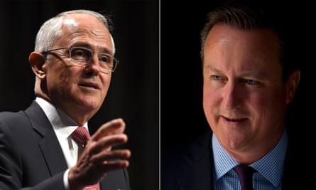 The Australian prime minister Malcolm Turnbull and the British PM David Cameron.