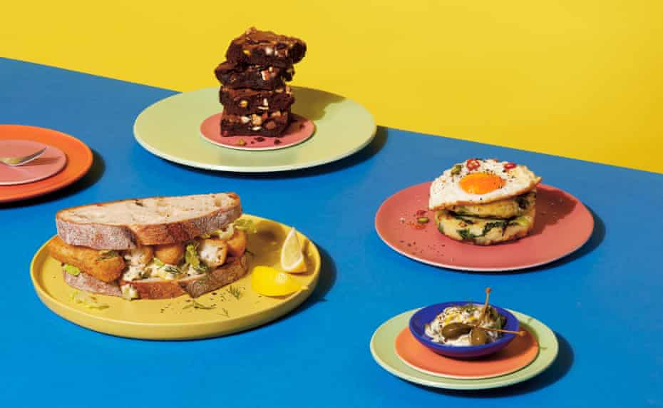 Happy eating (from left): fish-finger sandwich with tartare sauce (far right); dark chocolate brownie bites; potato cakes with fried egg