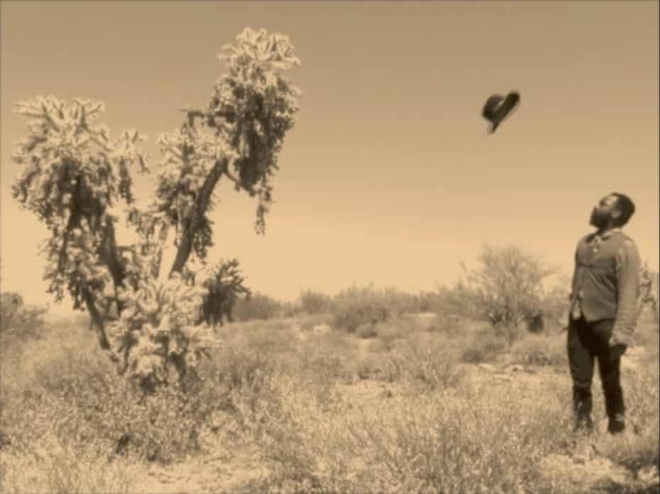 Samson Kambalu in his short film Moses (Burning Bush), 2015.