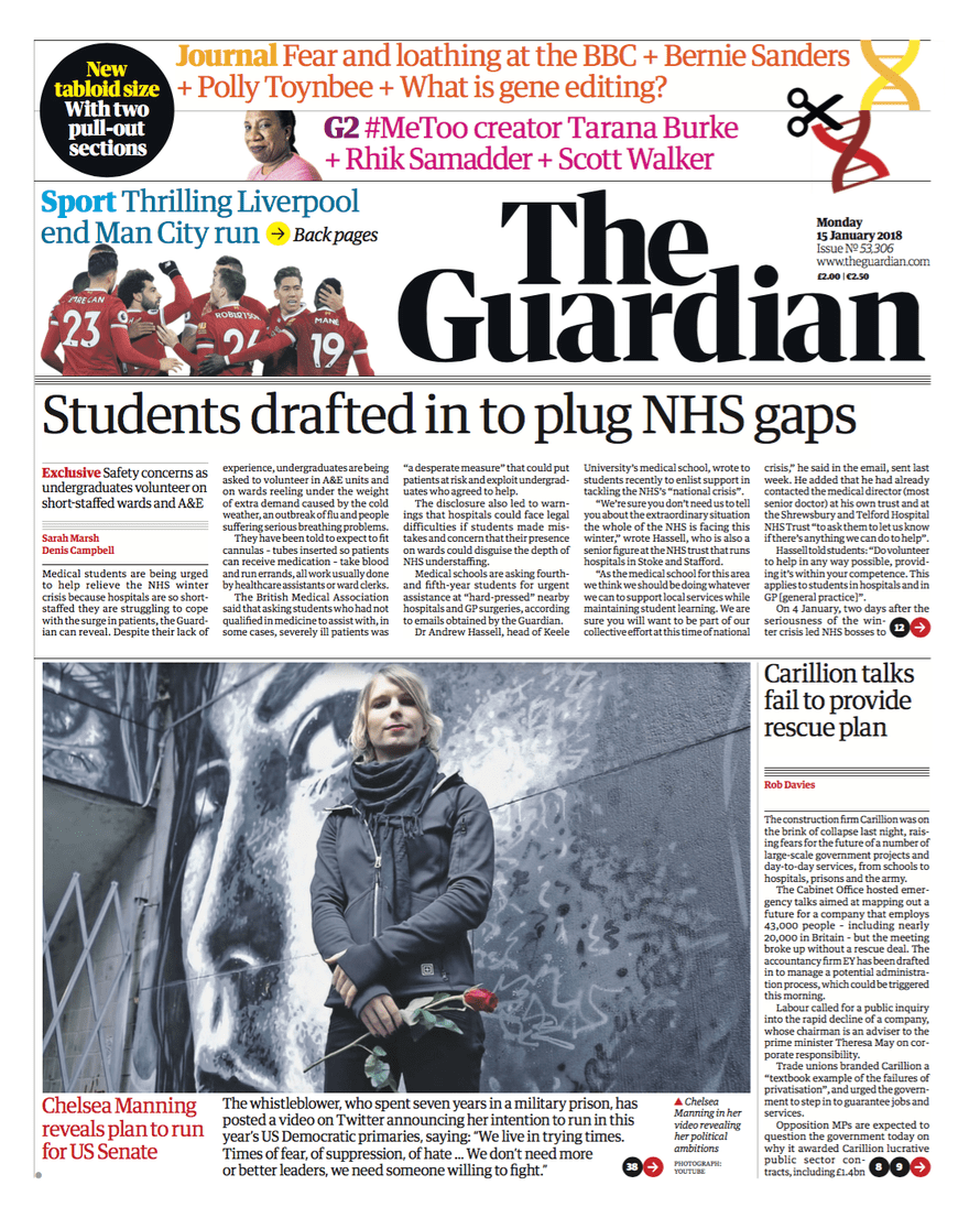 Guardian front page 15 Jan 2018