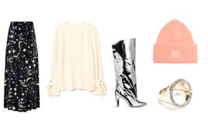 Skirt, £205, rixo.co.uk. Jumper, £49.99, mango.com. Boots, £59.99, hm.com. Hat, £110, by Acne from matchesfashion.com. Ring, £23, stories.com
