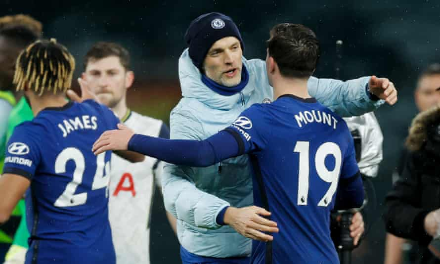Thomas Tuchel embraces Mason Mount after Chelsea's win at Tottenham on Thursday.