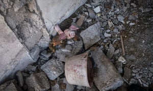 A child's toy in a house destroyed by an Isis car bomb – 17 members of one family died there.