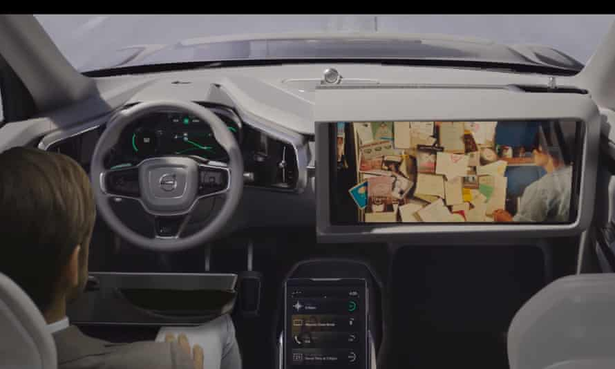 The day after tomorrow … a screengrab from a video mockup of Volvo's projected 'autonomous' cars – complete with dashboard screen.
