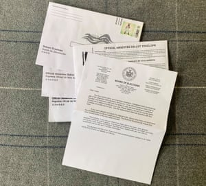 Two absentee ballot envelopes, one warning letter from the BOE and an unusable return envelope and ballot envelope addressed to someone else