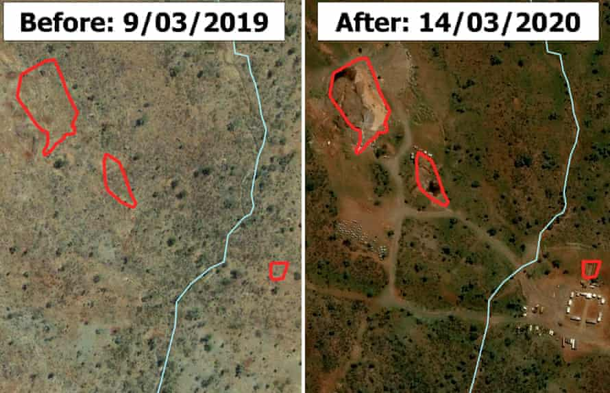 A side-by-side satellite image showing the Garnkiny and Jawaren sites before and after they were allegedly damaged.