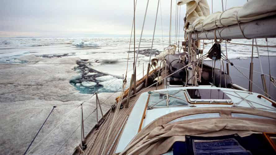 In Barrow Strait, near the Canadian village of Resolute, Cloud Nine encountered dense pack ice that could trap and sink even a larger vessel. The crew were forced to turn back to ensure their survival.