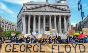 Black Lives Matter protest about the death of George Floyd in New York, 29 May 2020.