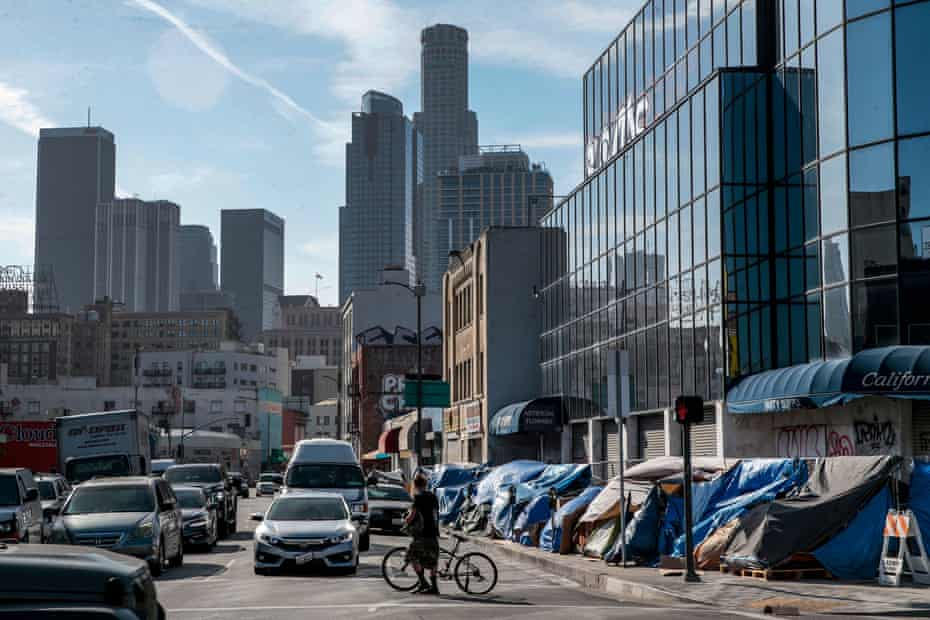 Tents lined up on 4th Street on Skid Row, downtown Los Angeles.