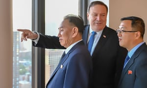US Secretary of State Mike Pompeo with North Korea's Kim Yong Chole in New York.