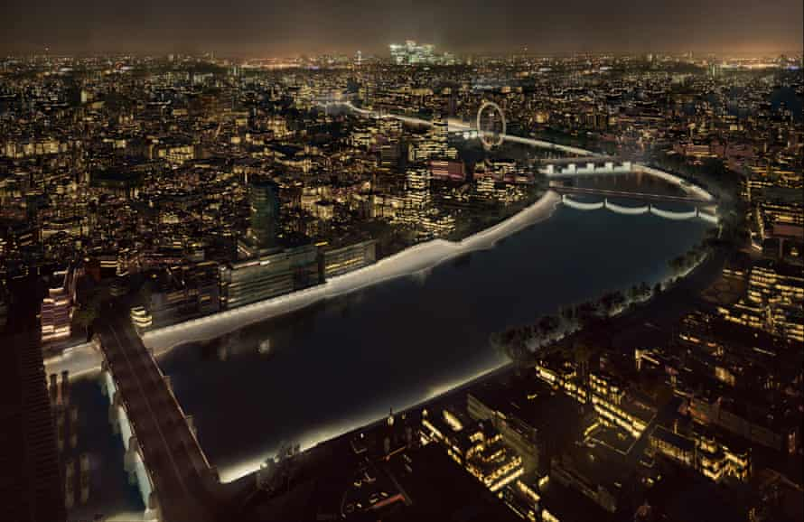 Low tide: Amanda Levete's proposal illuminates the edges of the river, so changing with the tides
