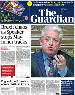 Guardian front page, Tuesday 19 March 2019