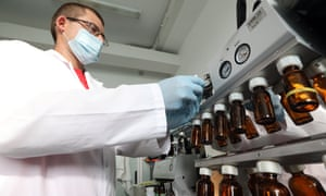 A researcher at work on a potential vaccine at the Vernadsky Crimean Federal University in Russia last month.