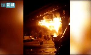Local media footage of the karaoke lounge fire