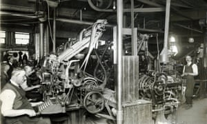 Guardian Linotype operators, May 1921. Thought to have been taken to mark the centenary of the Guardian in May 1921, this image shows compositors using Linotype machines in the composing room of the Guardian offices in Cross Street, Manchester. The composing room was where metal type was manufactured, set into pages and corrected before being sent to press. Linotype machines were used to make lines of metal type known as 'slugs' that would be arranged to make up pages of the newspaper. (Archive ref: GUA/6/9/1/4/G box 3)