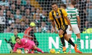 AEK Athens' Viktor Klonaridis runs away to celebrate after scoring