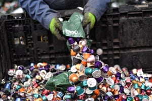 Nespresso pods being recycled in Cheshire in 2017.