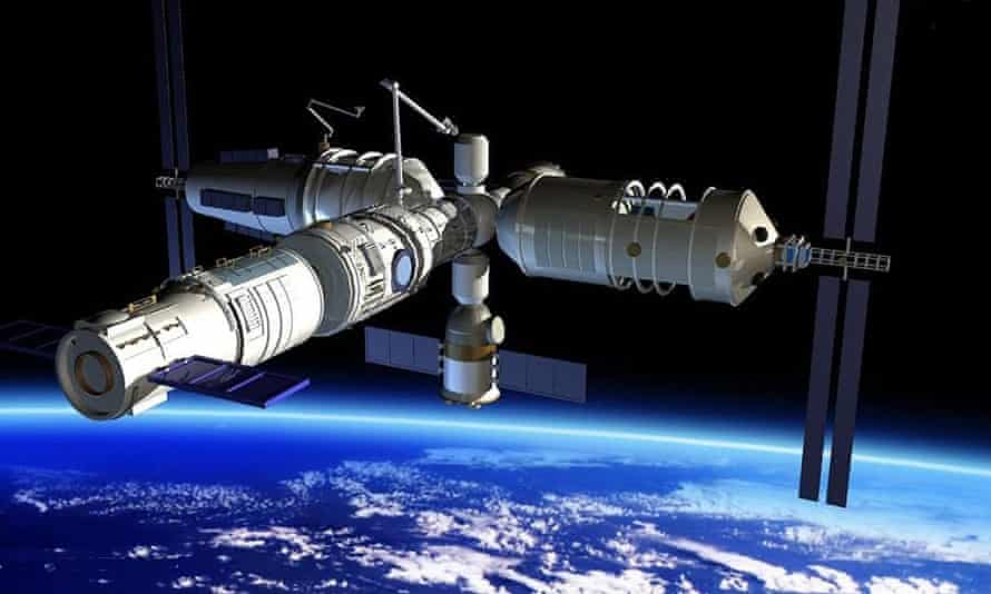 An artist's image of China's planned modular space station.