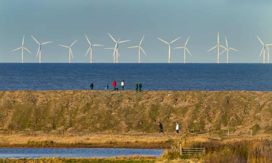 Sherringham Shoal Windfarm, with Cley Marshes NWT reserve in the foreground, Norfolk, England