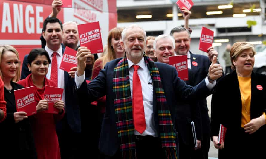 Jeremy Corbyn with his shadow cabinet at the Labour manifesto launch