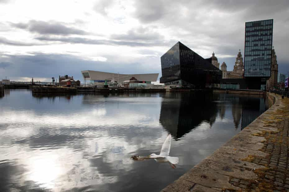 The waterfront area of Liverpool with the Museum of Liverpool, Liver Building and Mann Island buildings.