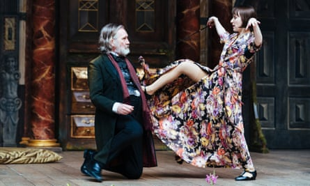 Lecherous … Pearce Quigley as Falstaff and Bryony Hannah as Mistress Ford in The Merry Wives of Windsor.