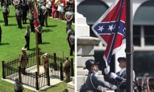 This composite show the Confederate battle flag being raised in front of the South Carolina statehouse in Columbia on 1 July 2000, left, and the same flag being taken down on 10 July 2015, right, ending its presence on the Capitol grounds.