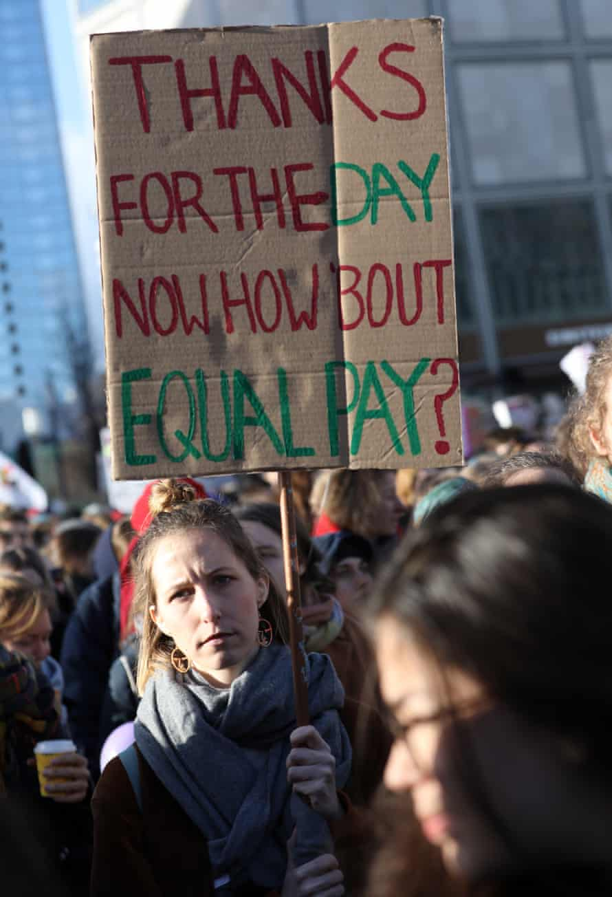 A protester holds a placard at an International Women's Day demonstration in Berlin in 2019.