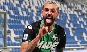 Francesco Caputo celebrates after scoring against Juventus.