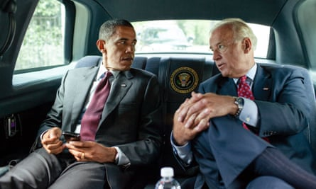 Barack Obama and Joe Biden ride together in the motorcade from the White House to sign the Dodd-Frank Wall Street Reform and Consumer Protection Act, July 2010