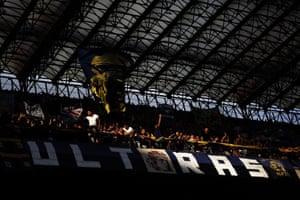Inter's ultras at the San Siro in Milan, 18 September 2016.
