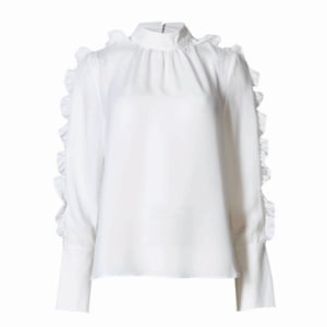 white ruffled neck and sleeve high necked blouse, Marks and Spencer