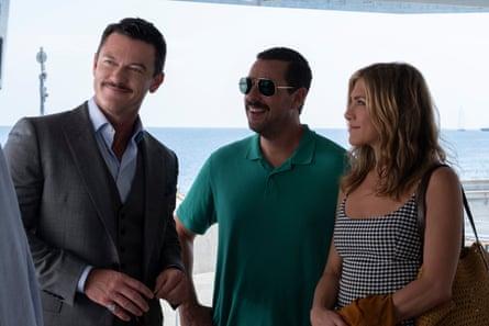 Luke       Evans, Adam Sandler and Jennifer Aniston in Murder Mystery