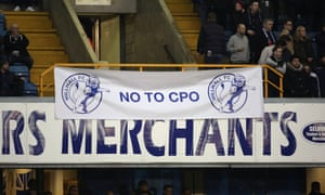 Fans protesting the compulsory purchase order during the The FA Cup 3rd round match between Millwall and Bournemouth.